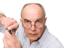 Serious man in glasses with Screwdriver Stock Photography