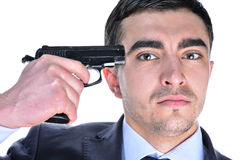 A serious man with gun  Royalty Free Stock Image