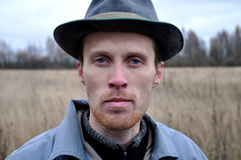Serious man in the hat Royalty Free Stock Photos
