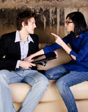 Serious man and her girlfriend Royalty Free Stock Images