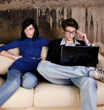 Serious man & her girlfriend Royalty Free Stock Photos