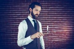 Serious man holding razor Stock Image