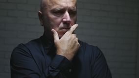 Serious Man Image Thinking Looking Preoccupied and Disappointed. stock images
