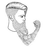 The serious man with a long beard in the form of a hand Royalty Free Stock Photo