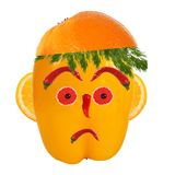 Serious man portrait made of vegetables and fruits Royalty Free Stock Photography