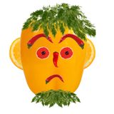 Serious man portrait made of vegetables and fruits Royalty Free Stock Photos