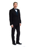 Serious man portrait. Man wearing tuxedo bow-tie portrait isolated on white background Royalty Free Stock Photos
