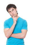 Serious man thinking about something Stock Photos