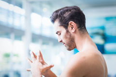 Serious man with touching hands Royalty Free Stock Photo