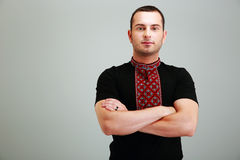 Serious man in the Ukrainian national clothes Stock Photography