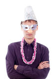 Serious man wearing party mask Royalty Free Stock Images