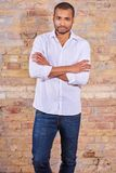 Serious man in a white shirt Royalty Free Stock Photo