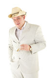 Serious man in a white suit. Isolated over white Stock Images