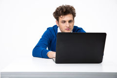 Serious man working on the laptop Royalty Free Stock Image