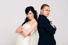 Serious married couple in studio Royalty Free Stock Photography