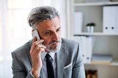 Serious mature businessman with smartphone sitting at the table, making a phone call. stock photography