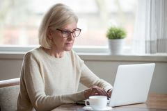 Serious mature middle aged business woman using laptop typing em. Serious mature middle aged business woman in glasses using laptop typing email working at home stock photos