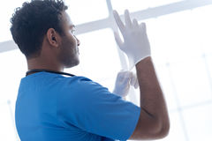Serious medical worker wearing sterile gloves. Every day ritual. Confident doctor looking through the window while standing in semi position in his cabinet while royalty free stock photo