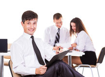 A serious meeting of business men at the office. Royalty Free Stock Photography