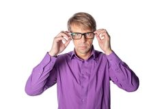 Serious middle age man with glasses on white background. Stylish man wearing glasses, looking at camera stock image