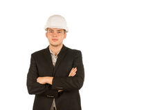 Serious Middle Age White Engineer Crossing Arms Stock Images