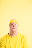 Funny man portrait real people high definition yellow background Stock Image
