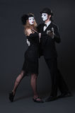 Serious mimes dancing Royalty Free Stock Photography