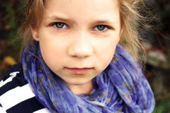 Serious-minded young female child portrait Royalty Free Stock Image
