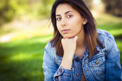 Serious Mixed Race Young Woman royalty free stock photo