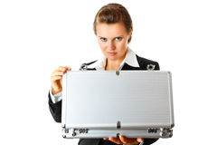 Serious modern business woman holding open suitcas Stock Images