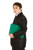 Serious modern businessman holding folder in hand Royalty Free Stock Photos