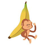 serious monkey with banana cartoon icon Royalty Free Stock Images