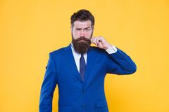 Serious motivated entrepreneur. Barbershop and stylist. Handsome guy concept. Because you worth it. Confident. Businessman handsome bearded man in formal suit stock image