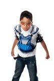 Serious Motorcross Biker. Young latino boy ready for a motorcross race Stock Photos
