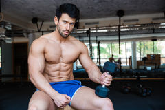 Serious muscular man holding dumbbell royalty free stock image