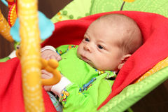 Serious newborn in the rocking chair Royalty Free Stock Photos