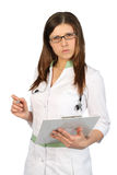 Serious nurse in glasses Stock Photo
