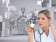 Serious nurse listening with stethoscope Royalty Free Stock Images