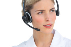 Serious nurse working with headset Stock Images