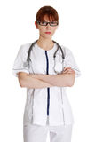 Serious nurse or young female medical doctor Royalty Free Stock Photography