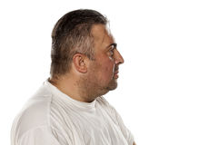 Serious obese man. Profile view of a serious obese man Stock Images