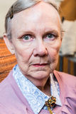 Serious Old Lady. Looks harshly at camera Royalty Free Stock Image