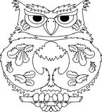 Serious owl in flat style. Icons for web design. People, sports, hobbies Royalty Free Stock Image