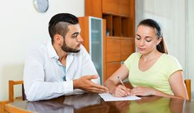 Serious pair discussing problems Stock Photo