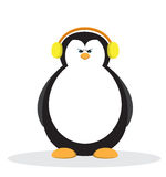 Serious penguin cartoon with yellow headphone. Royalty Free Stock Images