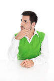 Serious and pensive isolated young businessman looking sideways Royalty Free Stock Photography