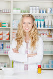 Serious Pharmacist Chemist Woman Royalty Free Stock Photo
