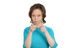 Serious pointing woman Royalty Free Stock Image