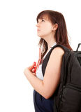 Serious pregnant student woman looking up Royalty Free Stock Images
