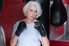 Serious pretty gray haired woman pretending  a boxer. Stock Photos